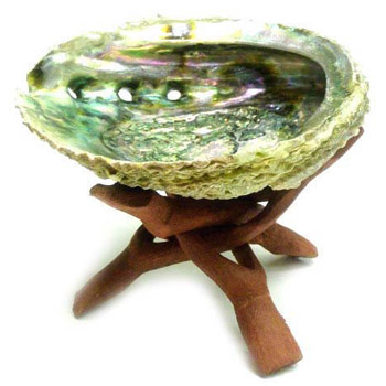 "Abalone Smudge Bowl with 6"" Wooden Tripod Stand"