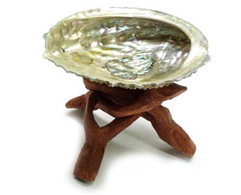 "Abalone Smudge Bowl with 4"" Wooden Tripod Stand"