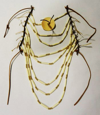 Plastic Hair Pipe and Brass Bead Breastplate Ready-Made