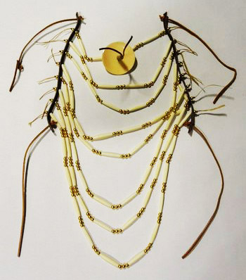 Bone Hair Pipe and Brass Bead Breastplate Ready-Made