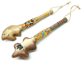 BEADED RAWHIDE RATTLE- 6-3/4""