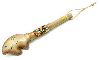 BEADED RAWHIDE RATTLE- 6-3/4