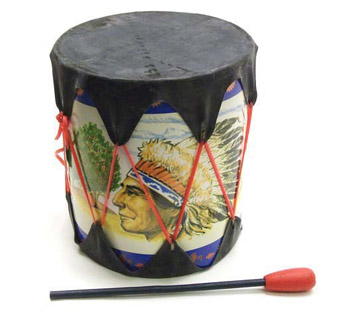 "7"" X 6"" Rubber Headed Drum with Wooden Stick"