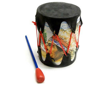 "5"" x 4"" Rubber Headed Drum with Wooden Stick"