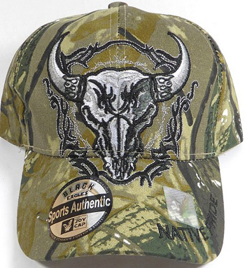 Native Pride Buffalo Skull - Autumn Camo Hat