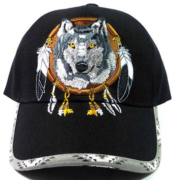 Native Pride Dream Catcher Wolf Hat