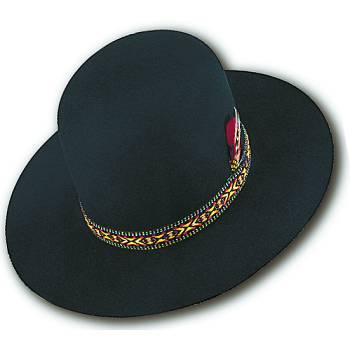 HIGH CROWN FELT HAT NAVAJO STYLE