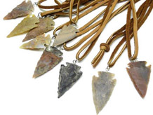 Knapped Agate Arrowhead Necklace on Leather Cord