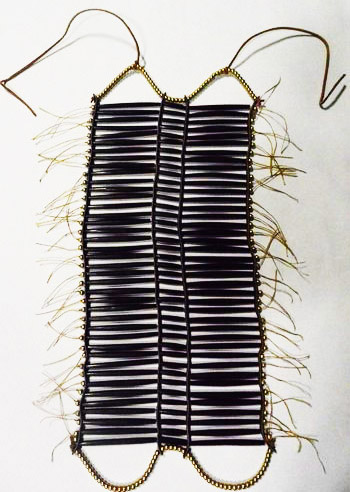 Black Buffalo Horn Hair Pipe Ready-Made Breastplate with French Brass Beads