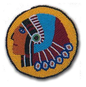 INDIAN HEAD FULLY BEADED ROSETTE